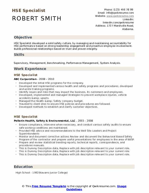 HSE Specialist Resume example