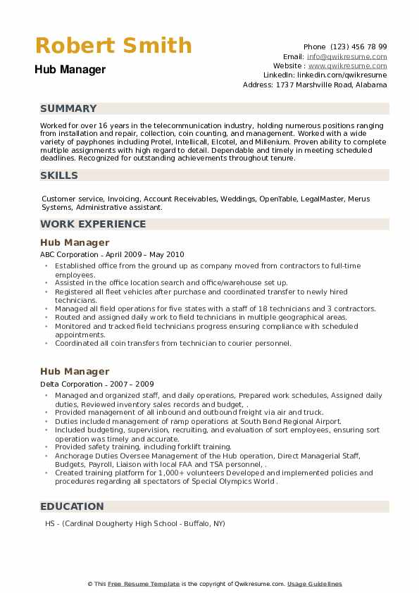 Hub Manager Resume example