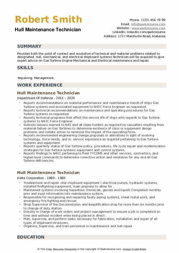 Hull Maintenance Technician Resume example