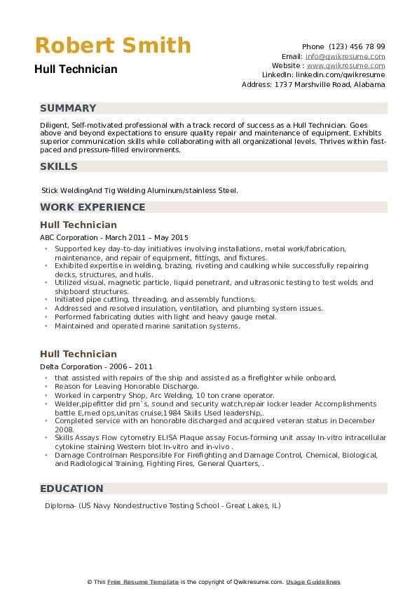 Hull Technician Resume example