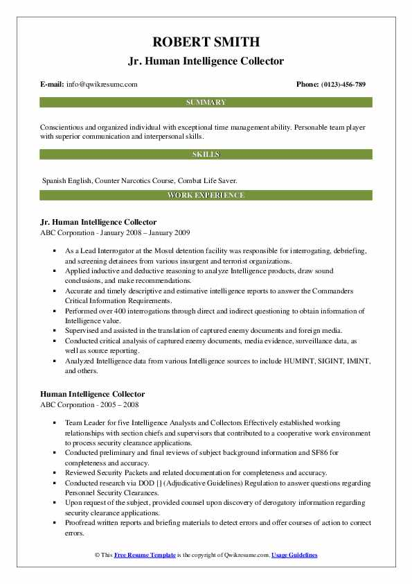Jr. Human Intelligence Collector Resume Template