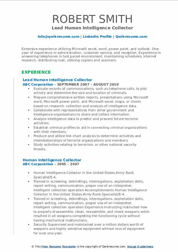 Lead Human Intelligence Collector Resume Example