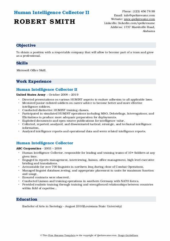 Human Intelligence Collector II Resume Sample