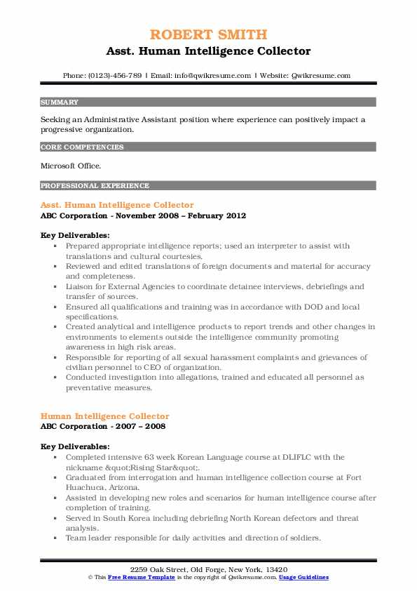 Asst. Human Intelligence Collector Resume Sample