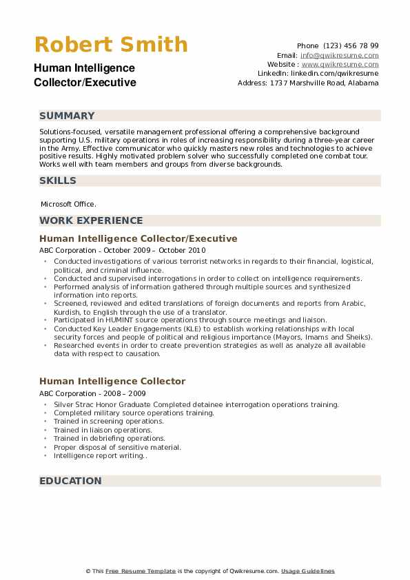 Human Intelligence Collector/Executive Resume Template