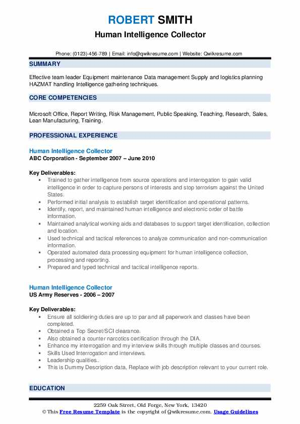 Human Intelligence Collector Resume example