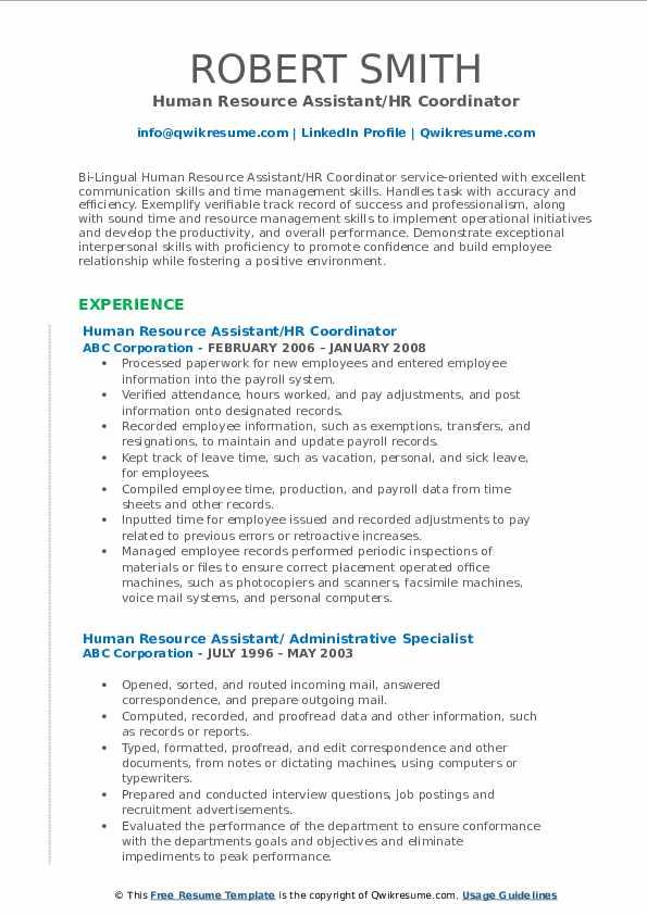 Human Resource Assistant/HR Coordinator Resume Sample