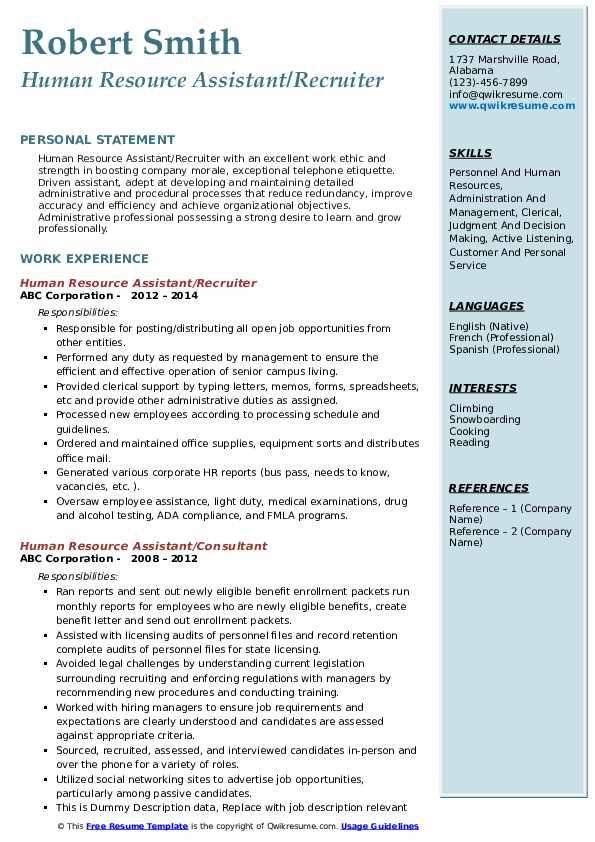 Human Resource Assistant/Recruiter Resume Model
