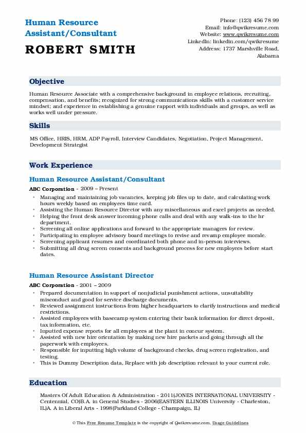 Human Resource Assistant/Consultant Resume Format