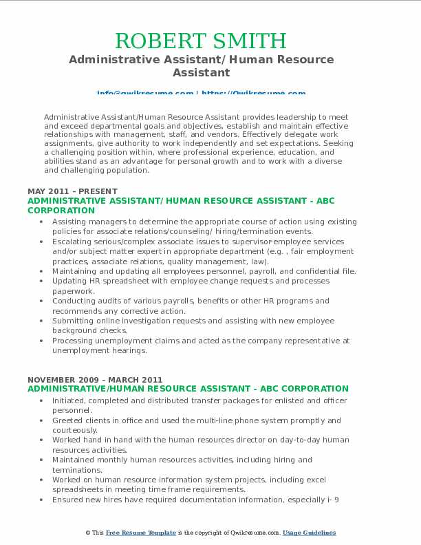 Administrative Assistant/ Human Resource Assistant Resume Model