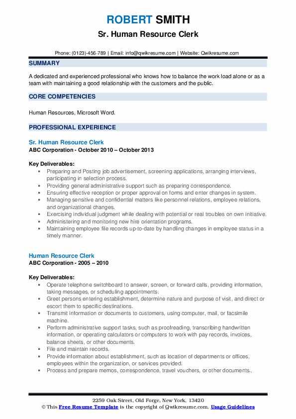 Sr. Human Resource Clerk Resume Model