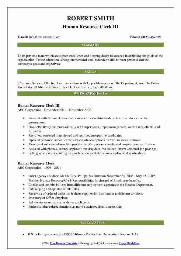 Human Resource Clerk III Resume Format
