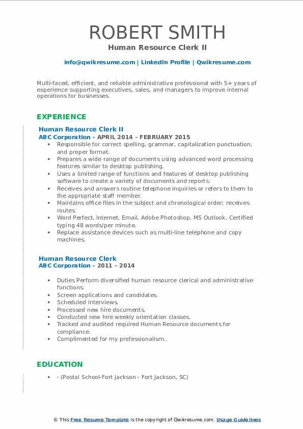 Human Resource Clerk II Resume Sample