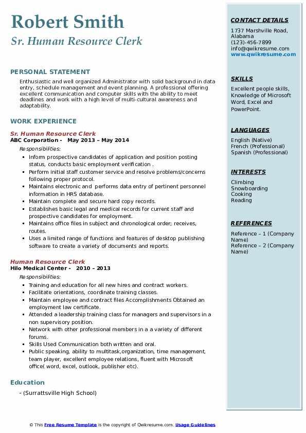 Sr. Human Resource Clerk Resume Sample