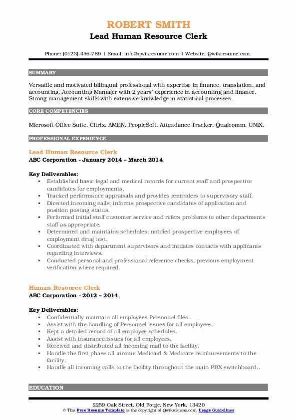 Lead Human Resource Clerk Resume Format