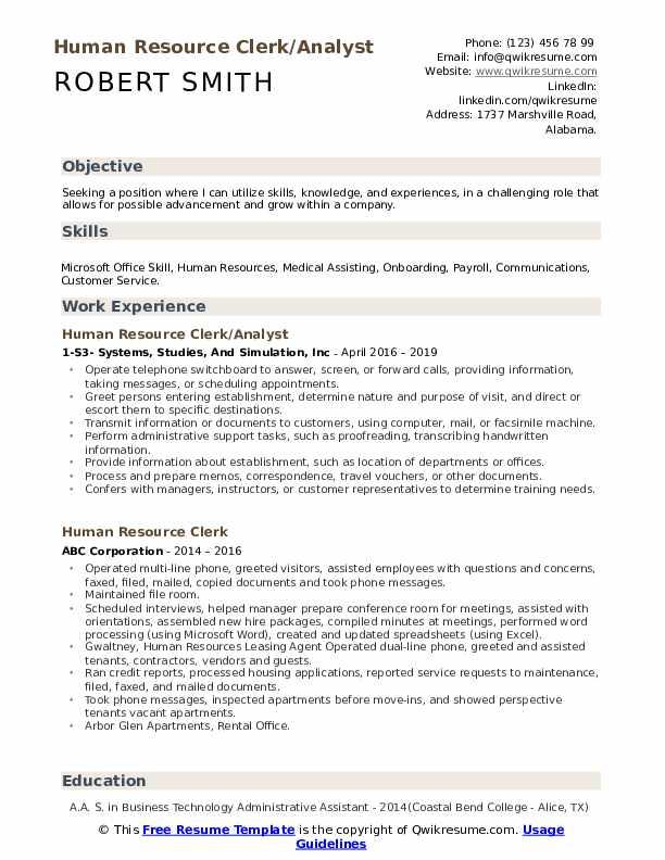 Human Resource Clerk/Analyst Resume Format