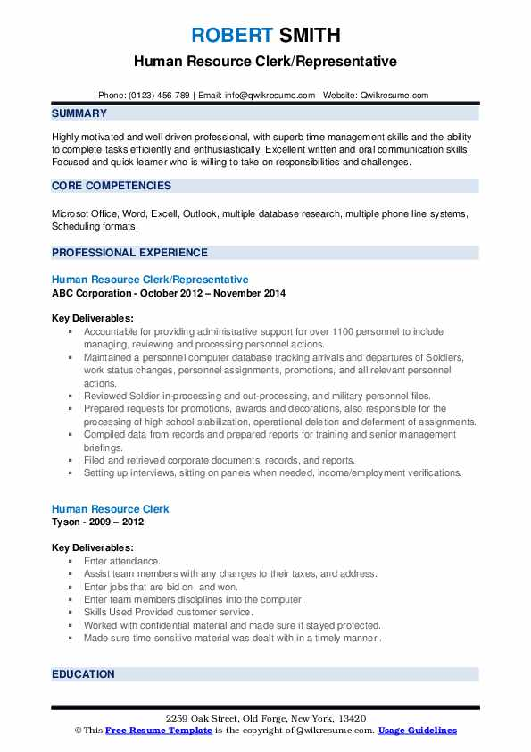 Human Resource Clerk/Representative Resume Format
