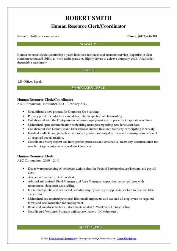 Human Resource Clerk/Coordinator Resume Format