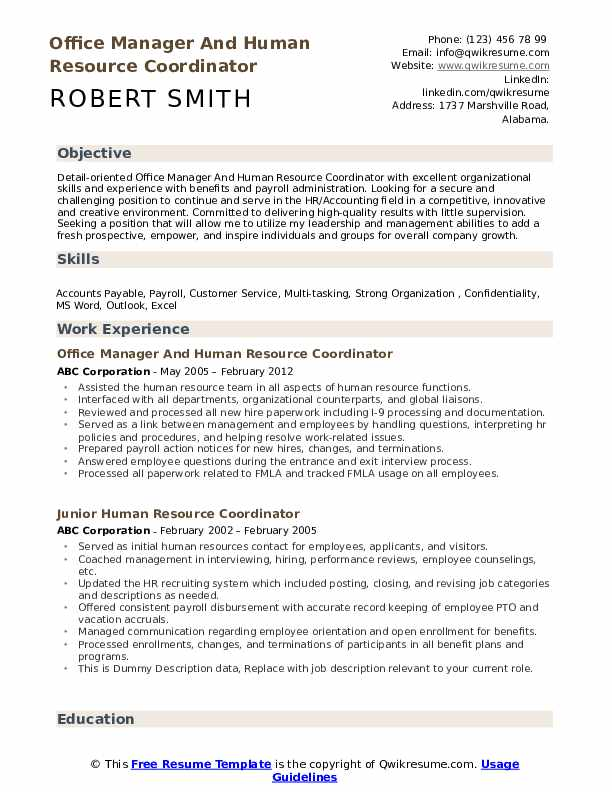 Office Manager And Human Resource Coordinator Resume Model