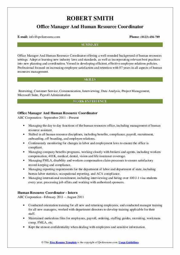 Office Manager And Human Resource Coordinator Resume Example