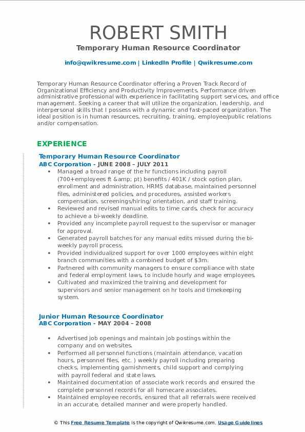 Temporary Human Resource Coordinator Resume Format