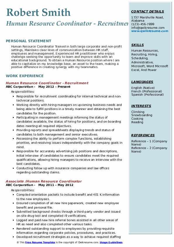 Human Resource Coordinator - Recruitment Resume Template