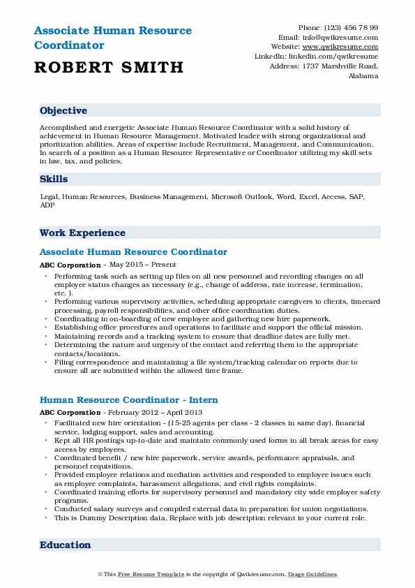 Associate Human Resource Coordinator Resume Format