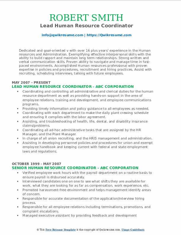 Lead Human Resource Coordinator Resume Sample