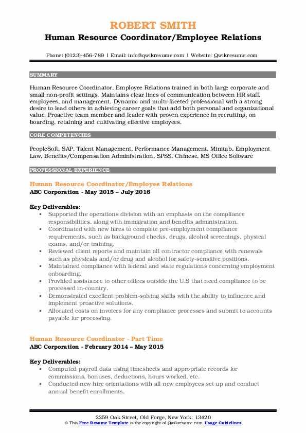 Human Resource Coordinator/Employee Relations Resume Template