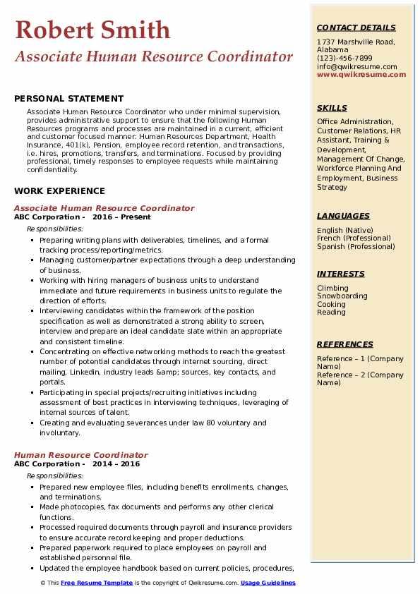 Associate Human Resource Coordinator Resume Sample