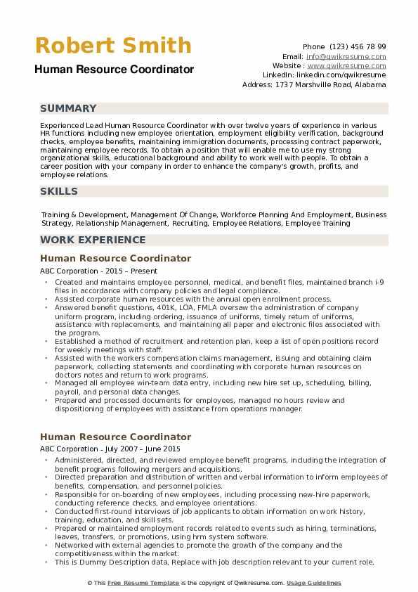Human Resource Coordinator Resume Samples Qwikresume