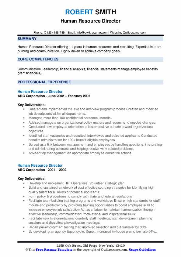 Human Resource Director Resume example