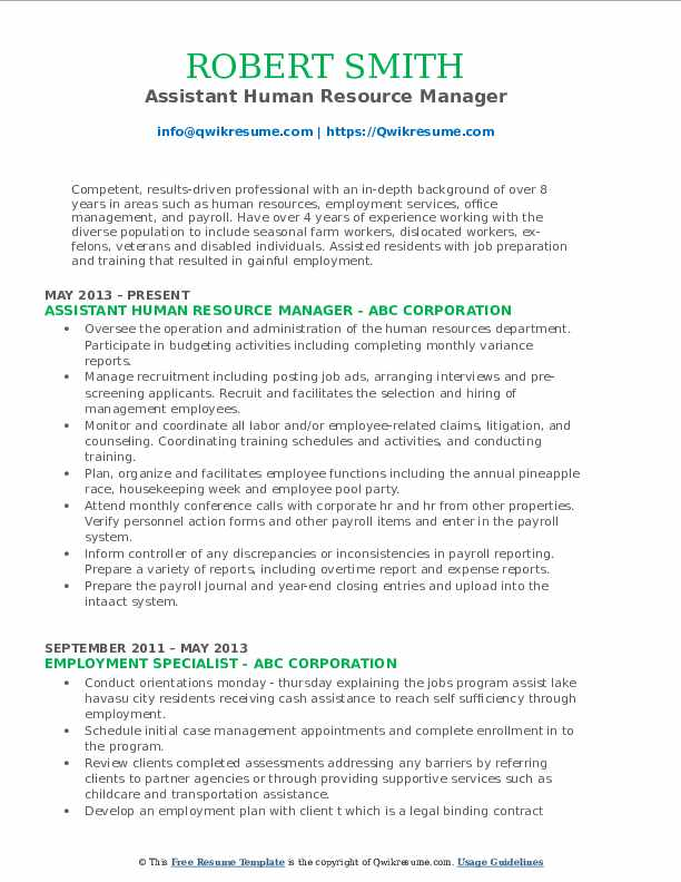 Human Resource Manager Resume Samples | QwikResume