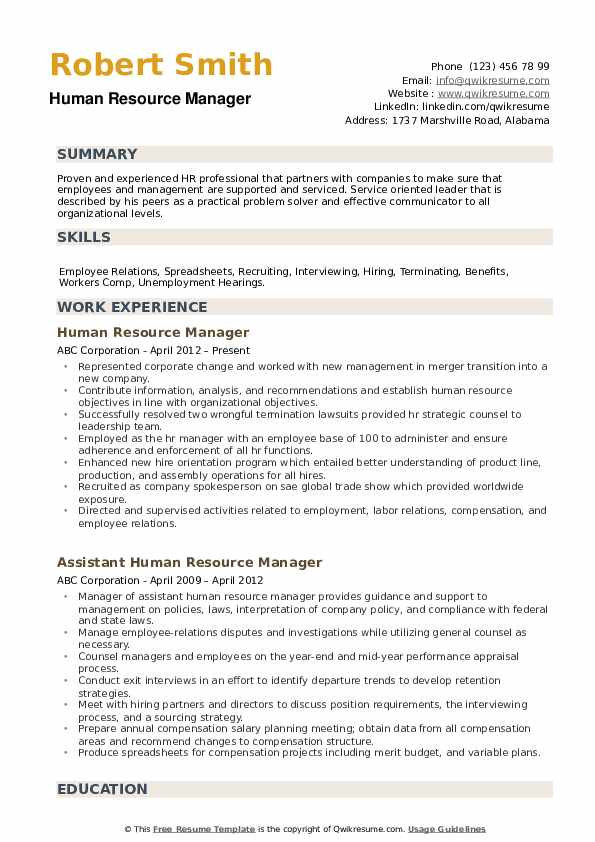 Human Resource Manager Resume Samples Qwikresume