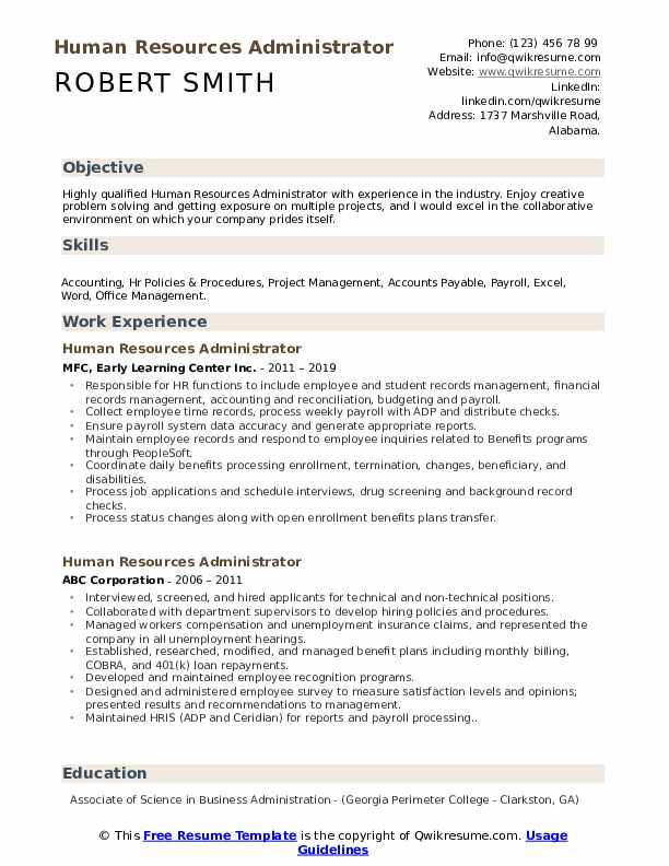 Human Resources Administrator Resume Format