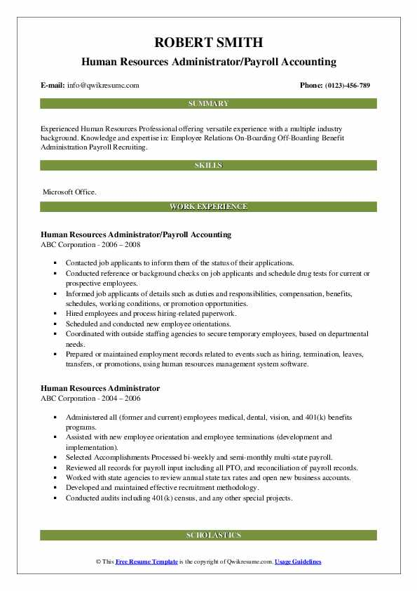 Human Resources Administrator/Payroll Accounting Resume Sample