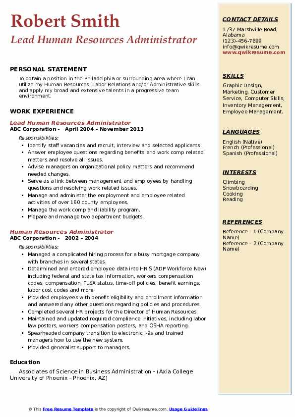 Lead Human Resources Administrator Resume Sample