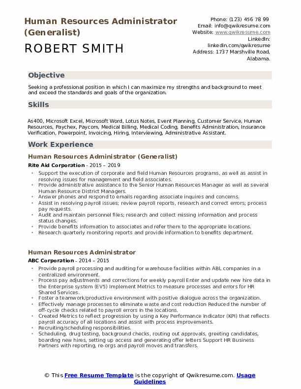 Human Resources Administrator (Generalist) Resume Example