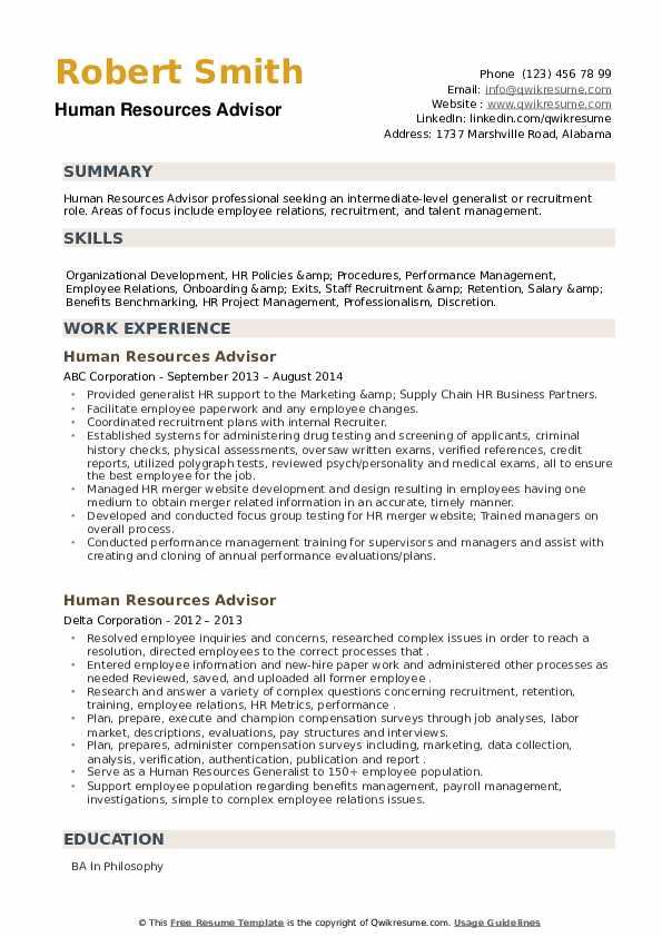 Human Resources Advisor Resume example