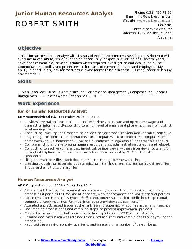 Junior Human Resources Analyst Resume Example