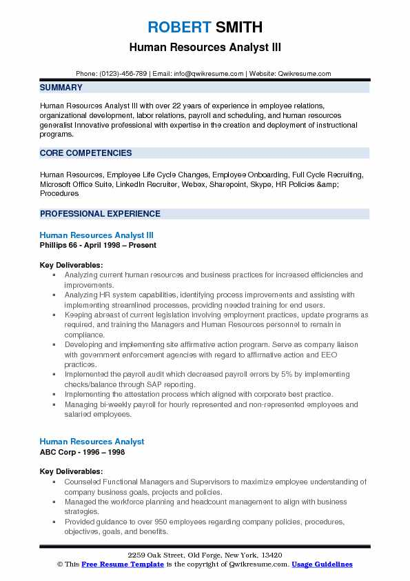 Human Resources Analyst III Resume Format