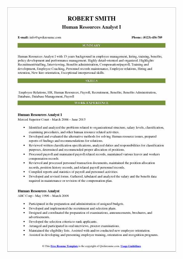 Human Resources Analyst I Resume Example