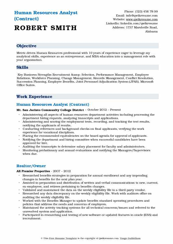 Human Resources Analyst (Contract) Resume Model