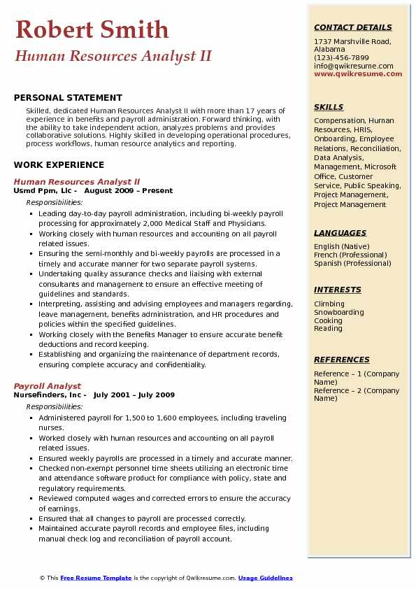 Human Resources Analyst II Resume Example