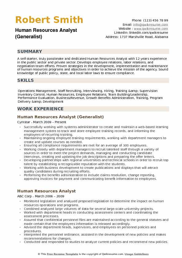 Human Resources Analyst Resume Samples Qwikresume