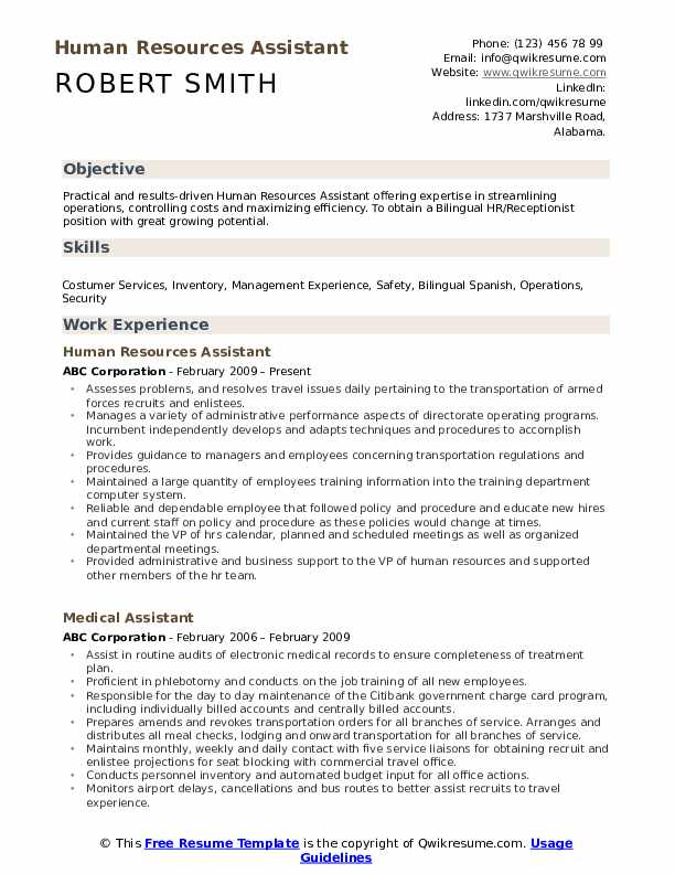 Human Resources Assistant Resume Format