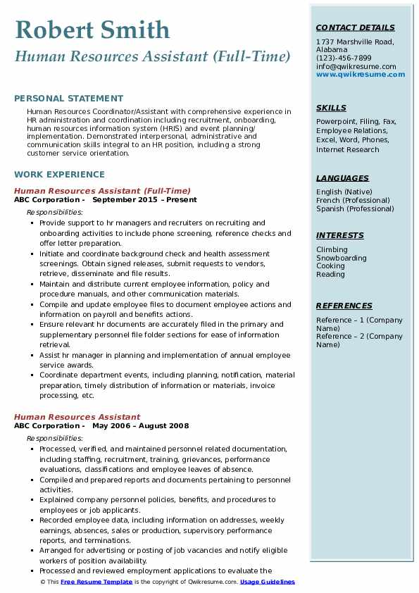 Human Resources Assistant (Full-Time) Resume Model