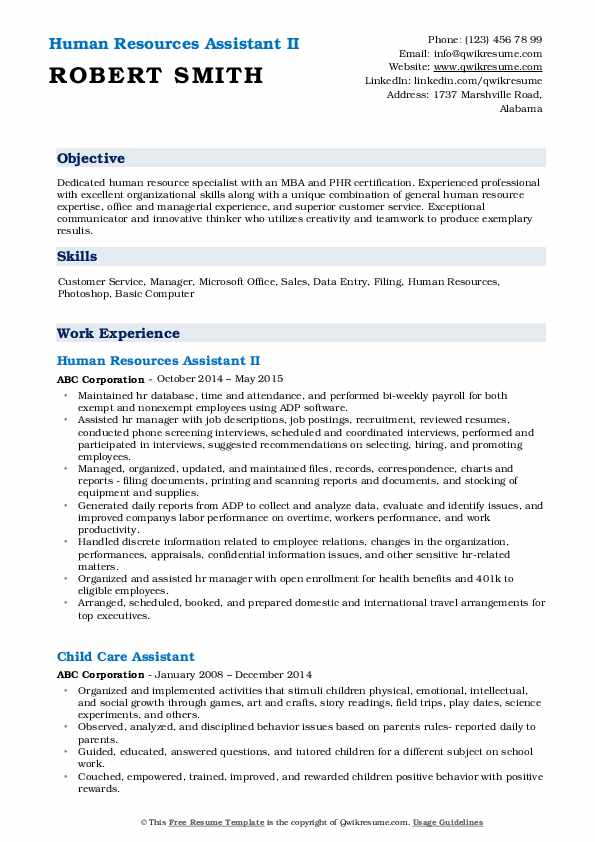 Human Resources Assistant II Resume Sample