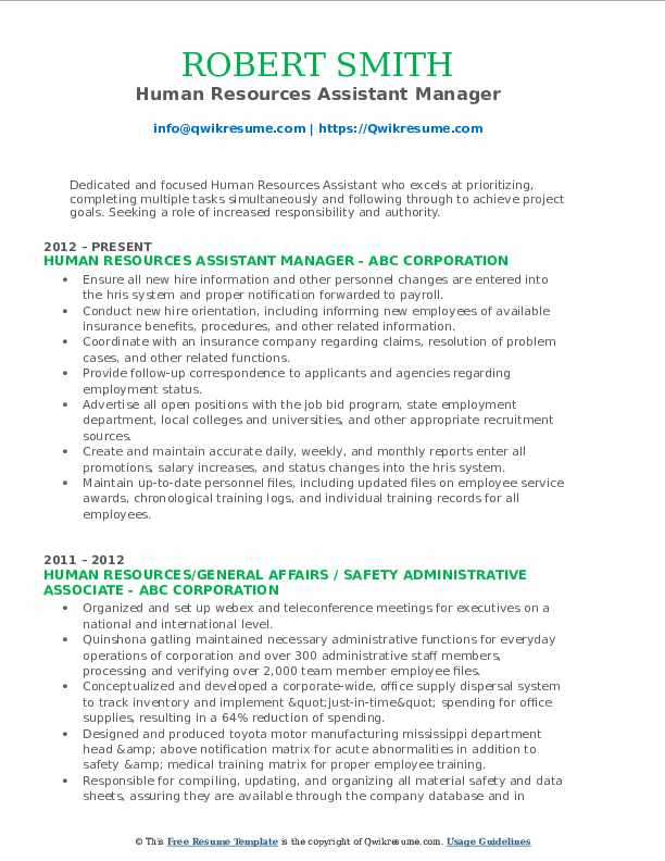 Human Resources Assistant Resume Samples