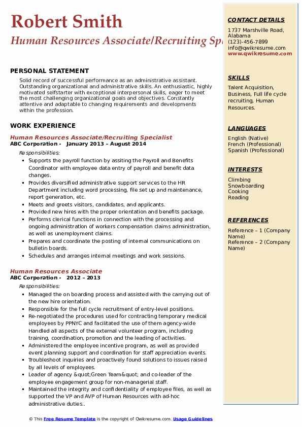 human resources associate resume samples